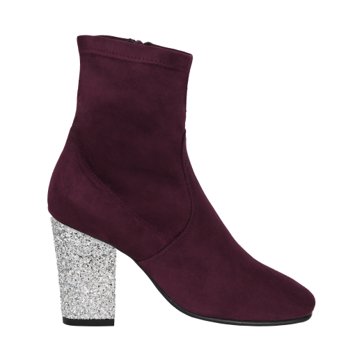 Supple burgundy boots   in suede imitation with interchangeable heels Pereire