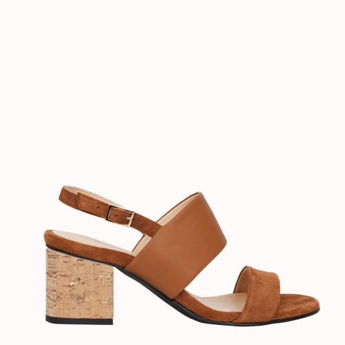 Cork and gold 6 cm heels