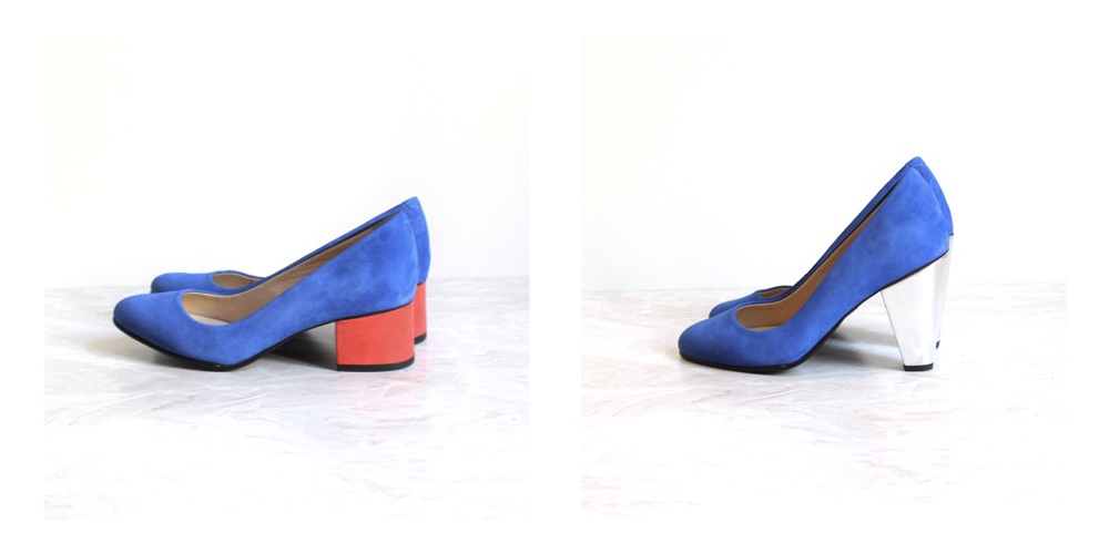 Abbesses electric blue pumps coral heels silver heels