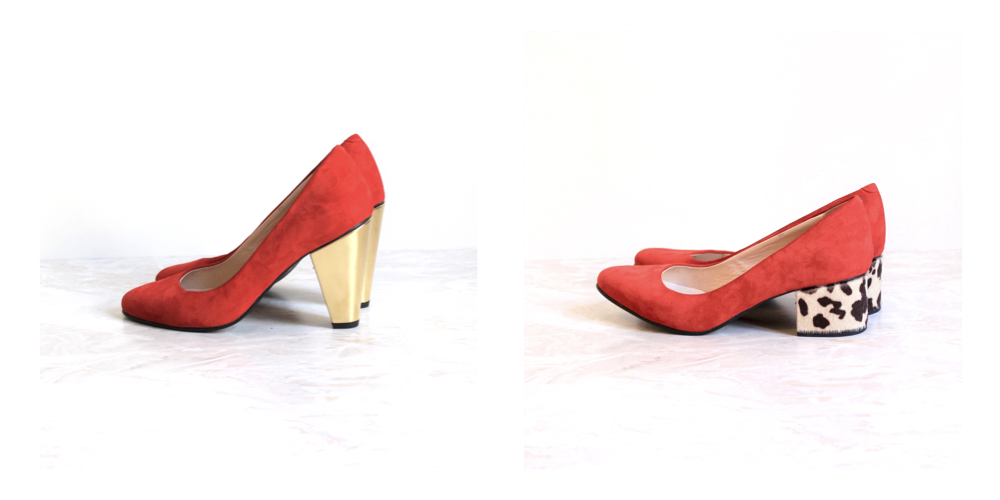 Pigalle red pumps cow heels gold heels